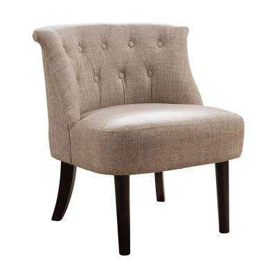 Light Brown/Dark Cherry Herculan Fabric Button Tufts Accent Chair