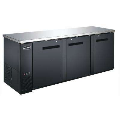 90.5 in. W 32 cu. ft. Commercial Solid Door Back Bar Refrigerator in Stainless Steel with Black Finish