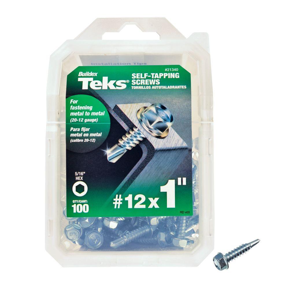Teks #12 1 inch External Hex Flange Hex-Head Self-Drilling Screws (100-Pack) by Teks