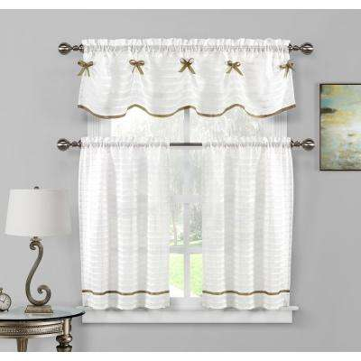 Carlee Kitchen Valance in White-Taupe - 15 in. W x 58 in. L (3-Piece)