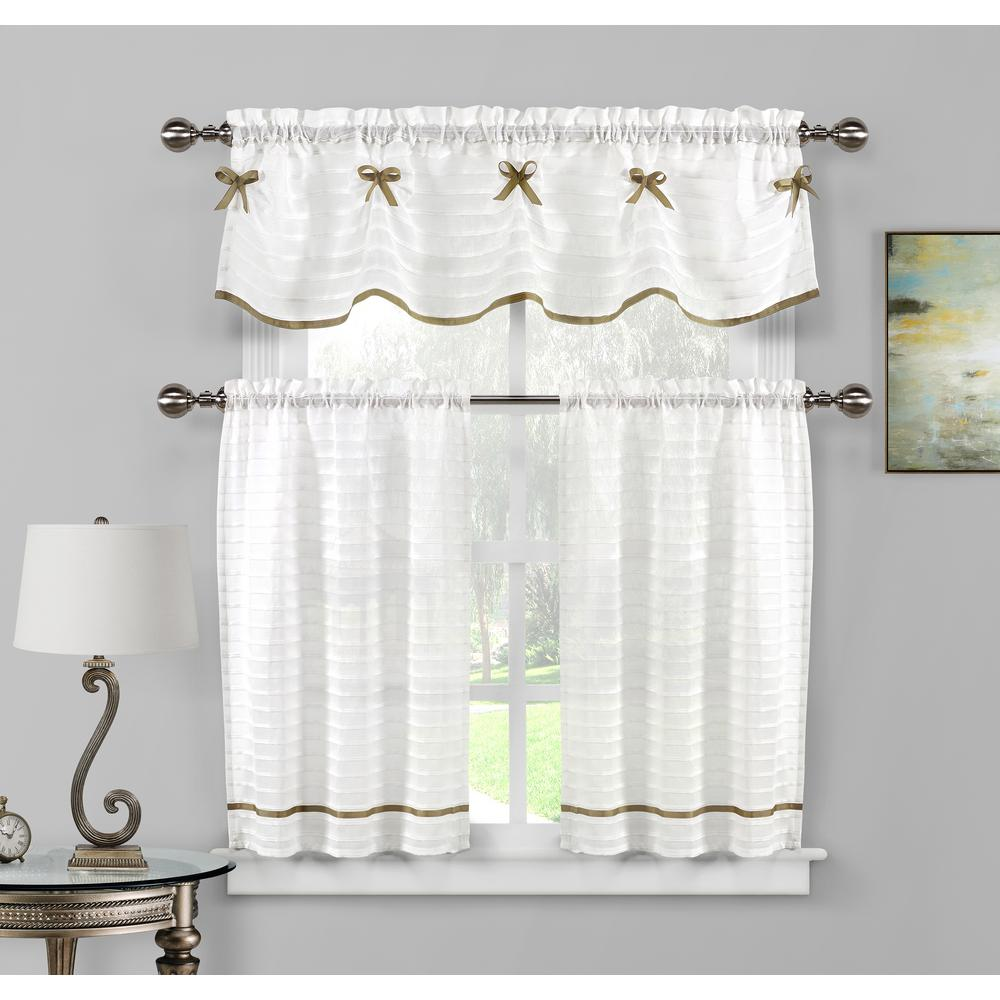 Duck River Carlee Kitchen Valance In White Taupe 15 In