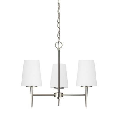Driscoll 3-Light Brushed Nickel Chandelier with LED Bulbs