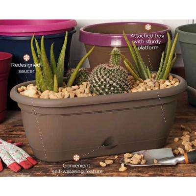 18 x 7.5 Chocolate Lucca Plastic Self Watering Window Box