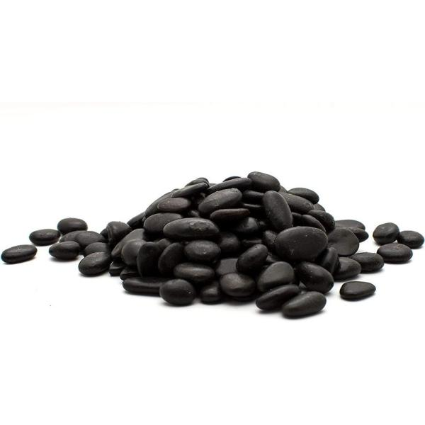 0.5 in. to 1.5 in., 2200 lb. Small Black Grade A Polished Pebbles Super Sack