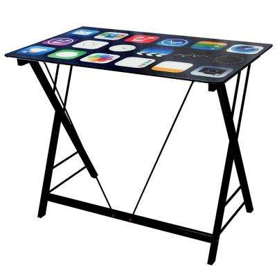 Black Cell Phone Apps Computer Desk for Kids