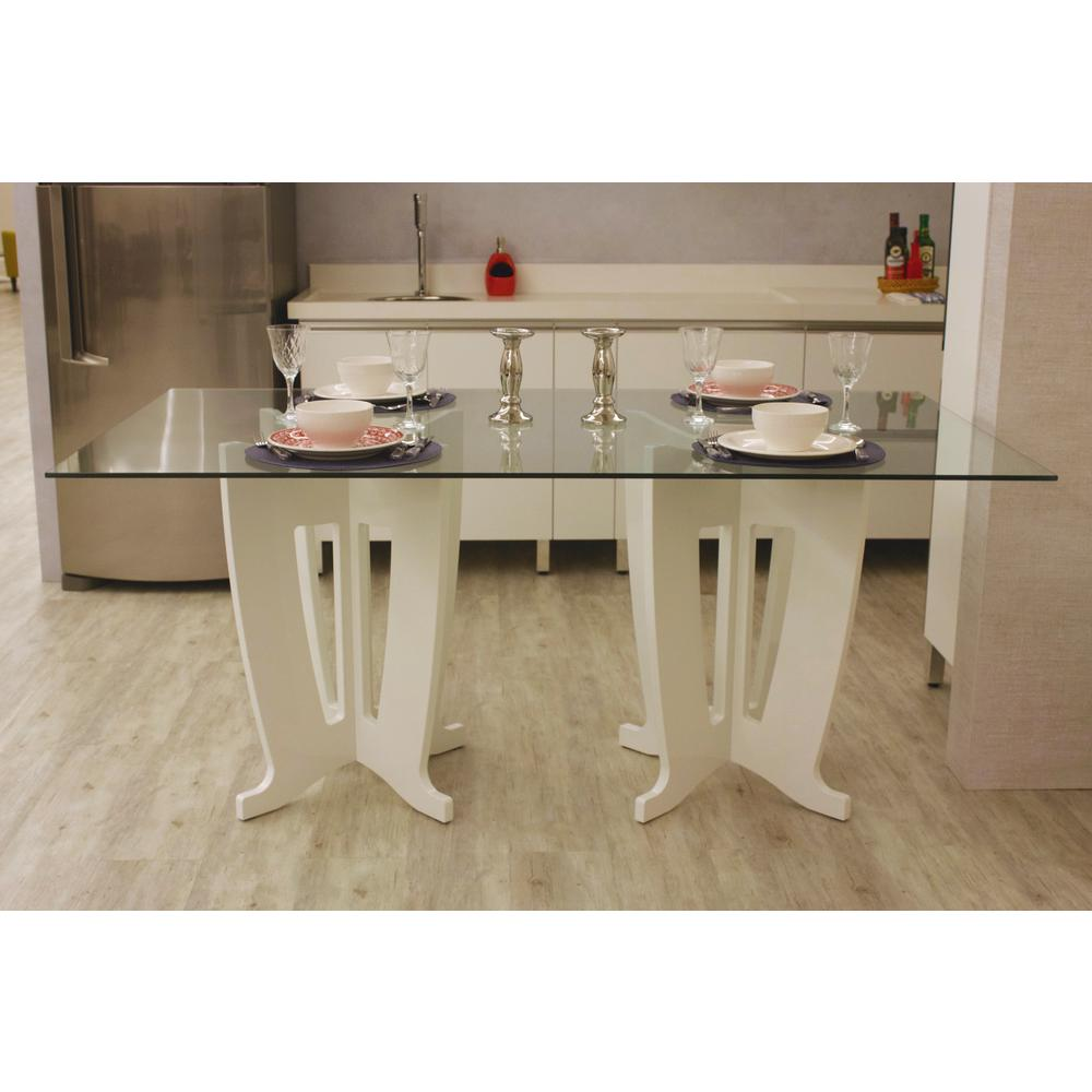 Jane 2.0 -78.64 in. White Gloss Sleek Tempered Glass Table Top