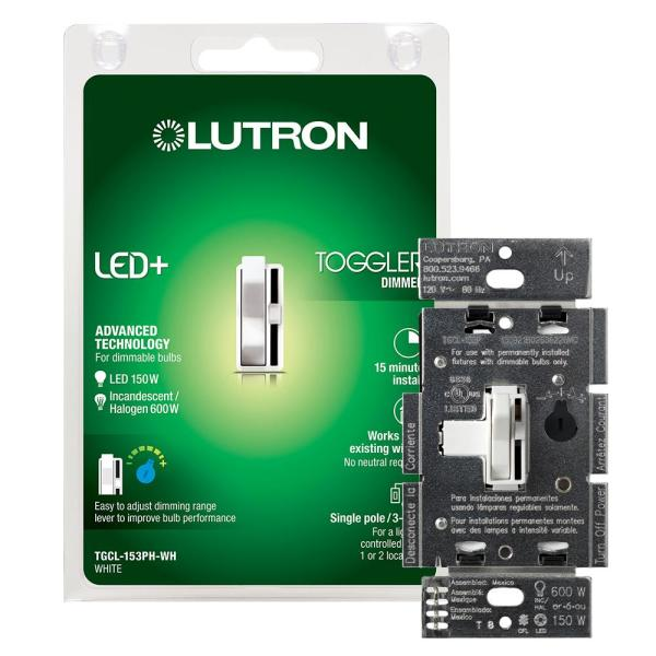 Lutron Toggler Led  Dimmer Switch For Dimmable Led  Halogen And Incandescent Bulbs  Single