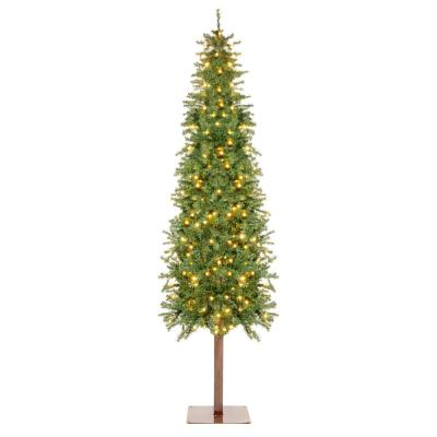 7.5 ft. Pre-Lit LED Pencil Alpine Artificial Christmas Tree with 350 Warm White Lights