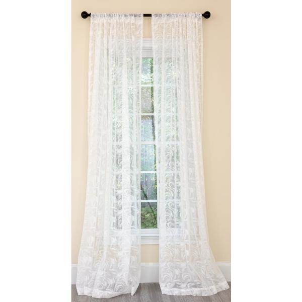 Charming Night Sheer Rod Pocket Single Curtain Panel in White - 54 in. x 108 in.