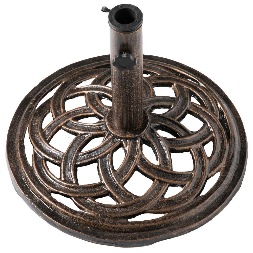 23 lbs. Round Cast Iron Outdoor Patio Umbrella Base Holder Stand in Bronze