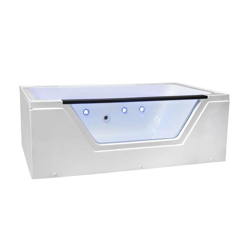 Ella Fiji 66 in. L Acrylic with Right Drain Rectangular Alcove Infusion MicroBubble Air Bath Bathtub in White