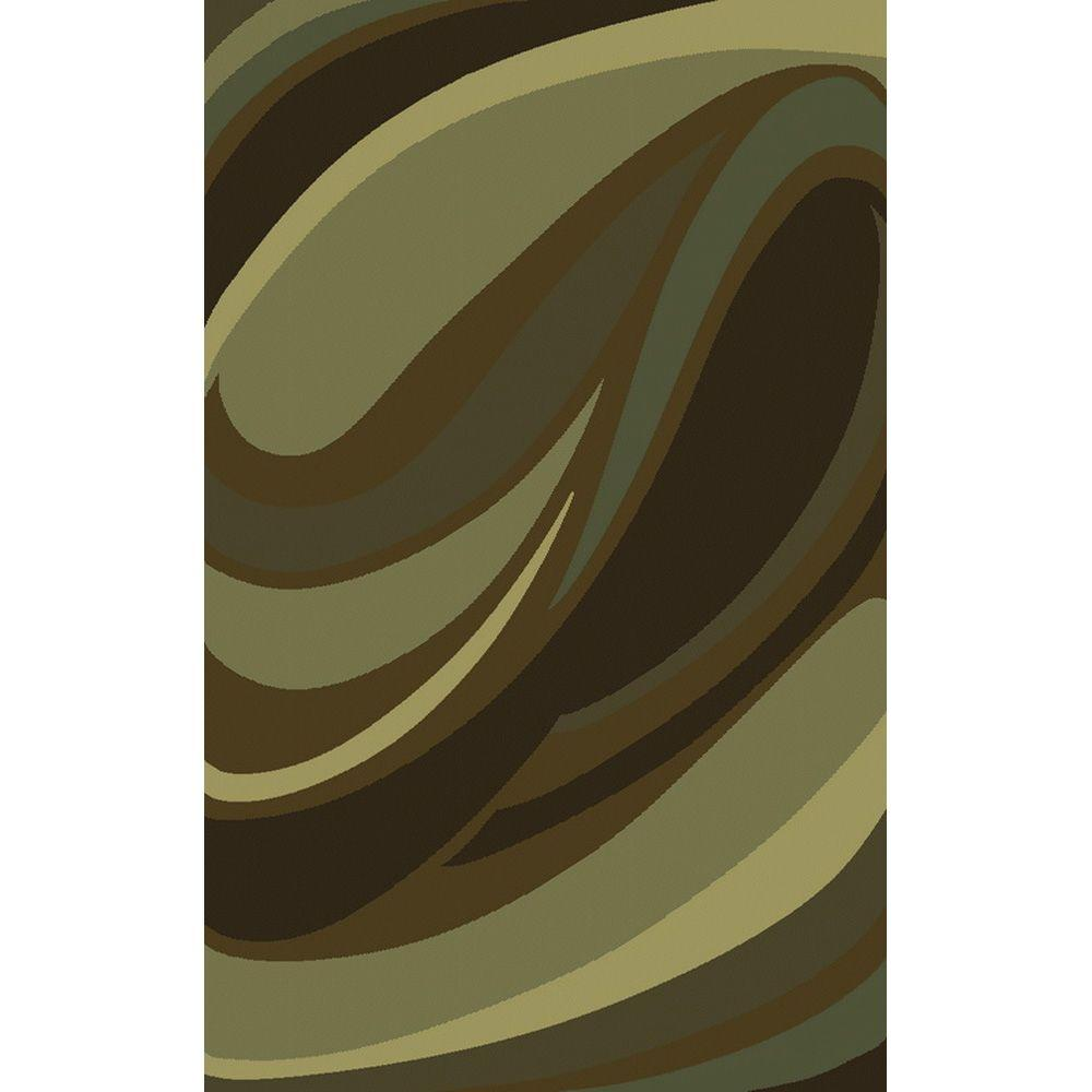 null Legacy Curve Green and Brown 10 ft. x 13 ft. Area Rug