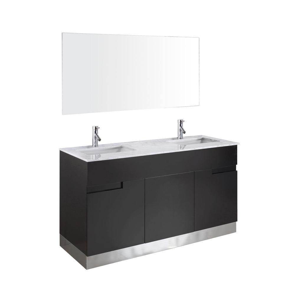 Virtu USA Stark 59-1/5 in. Double Basin Vanity in Espresso with Marble Vanity Top in Italian Carrara White and Mirror-DISCONTINUED