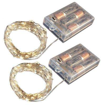 Battery Operated LED Waterproof Mini String Lights with Timer (50ct) Warm White (Set of 2)