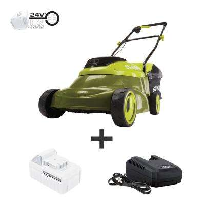 14 in. 24-Volt Cordless Walk-Behind Push Mower Kit with 5.0 Ah Battery + Charger