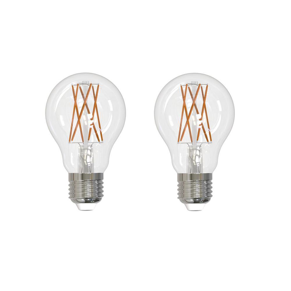 60-Watt Equivalent Light A19 Dimmable Filament JA8 LED Light Bulb Soft White (2-Pack)