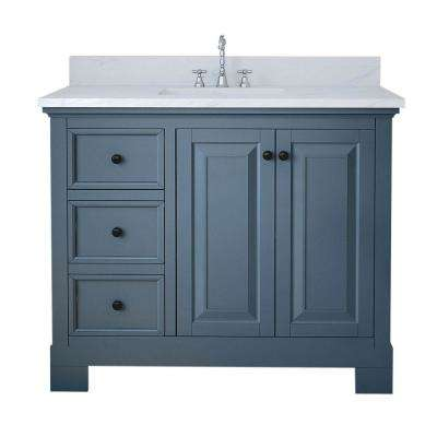 Richmond 42 in. W x 22 in. D Bath Vanity in Gray with Marble Vanity Top in White with White Basin