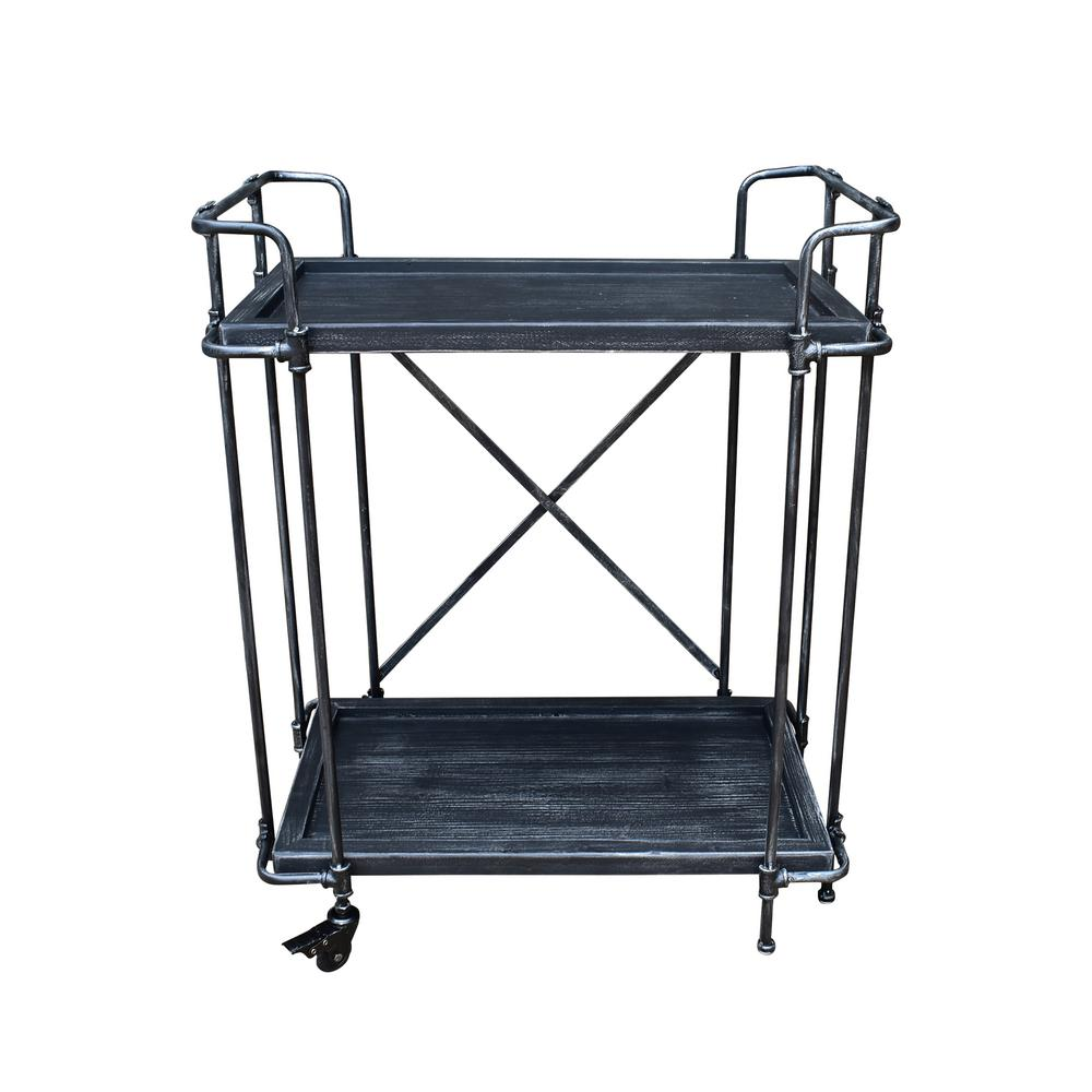 Noble House Eden industrial Brushed Dark Gray Fir Wood and Pewter Iron 2-Tier Patio Serving Cart