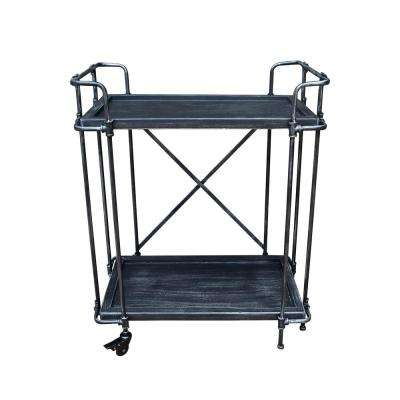 Eden industrial Brushed Dark Gray Fir Wood and Pewter Iron 2-Tier Patio Serving Cart