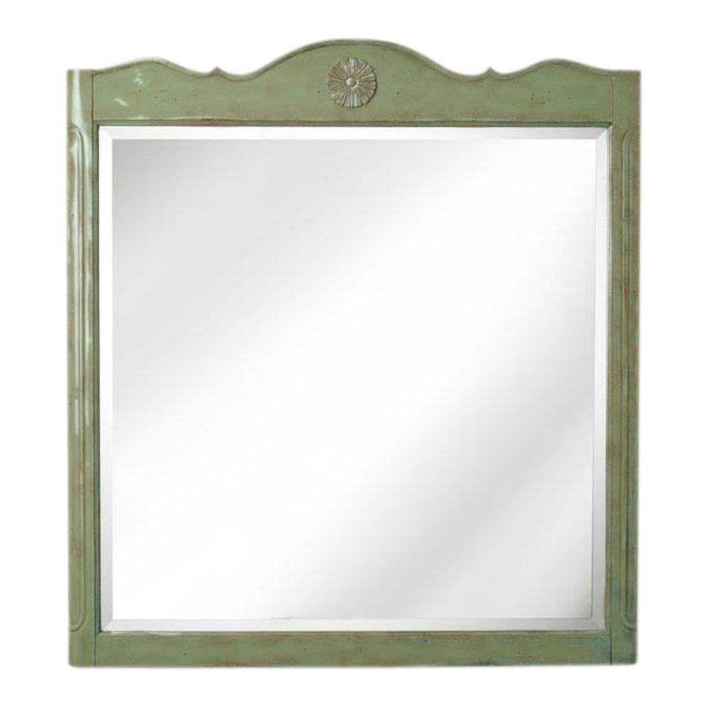 Home Decorators Collection Keys 33 in. W x 36 in. H Bath Mirror in Antique Green Frame