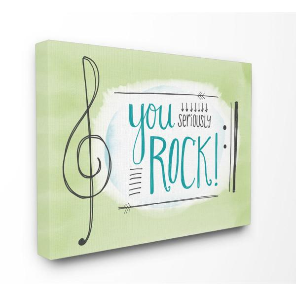 """Stupell Industries 30 in. x 40 in. """"You Seriously Rock! Music Symbols"""" by Katie Doucette Printed Canvas Wall Art"""