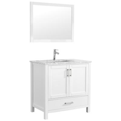 Amaya 36 in. Bathroom Vanity in White with Marble Vanity Top in Cararra White with White Ceramic Basin and Mirror