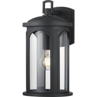 Faywood 1-Light 14 in. Matte Black Outdoor Wall Lantern with Clear Glass