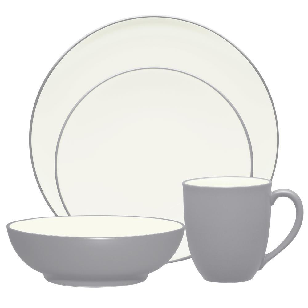Colorwave 4-Piece Slate Coupe Dinnerware Set