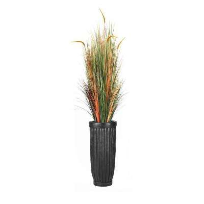 81 in. Tall Onion Grass with Cattail in Planter