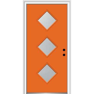 32 in. x 80 in. Aveline Left-Hand Inswing 3-Lite Frosted Glass Painted Steel Prehung Front Door on 6-9/16 in. Frame