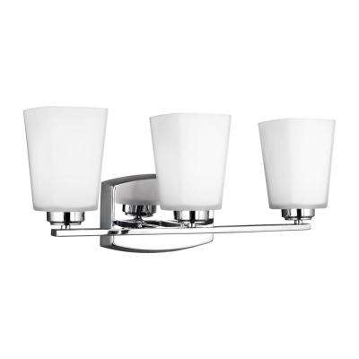 Waseca 3-Light Chrome Bath Light