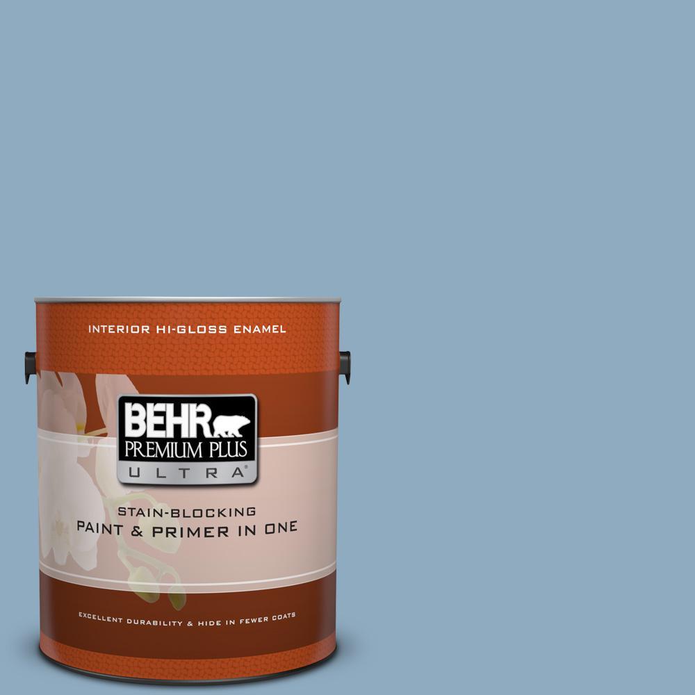 1 gal. #BIC-10 Cotton Denim Hi-Gloss Enamel Interior Paint