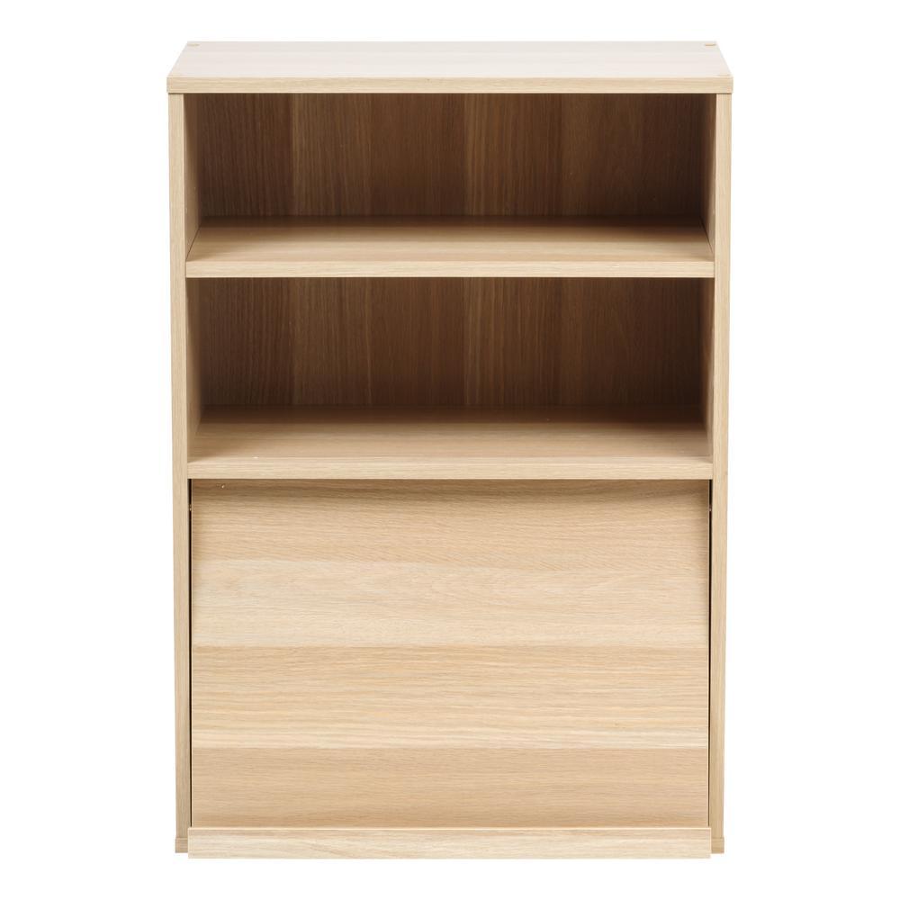 Collan Series Light Brown Open Wood Shelf with Pocket Door