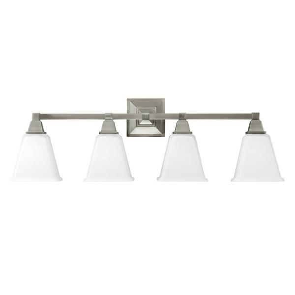 Denhelm 31.75 in. W. 4-Light Brushed Nickel Wall/Bath Vanity Light with Inside White Painted Etched Glass