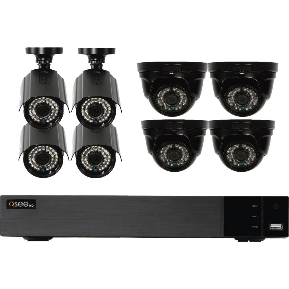 Q-SEE 16-Channel 1080p Indoor/Outdoor Surveillance 2TB DVR System with (4)  1080p Bullet Cameras and (4) 1080p Dome Cameras