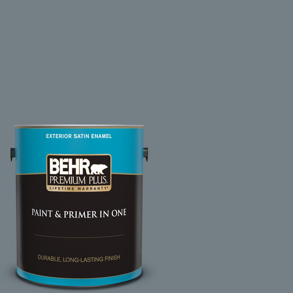 Behr Premium Plus 1 Gal Bnc 39 Peak Point Satin Enamel Exterior Paint And Primer In One 940001 The Home Depot