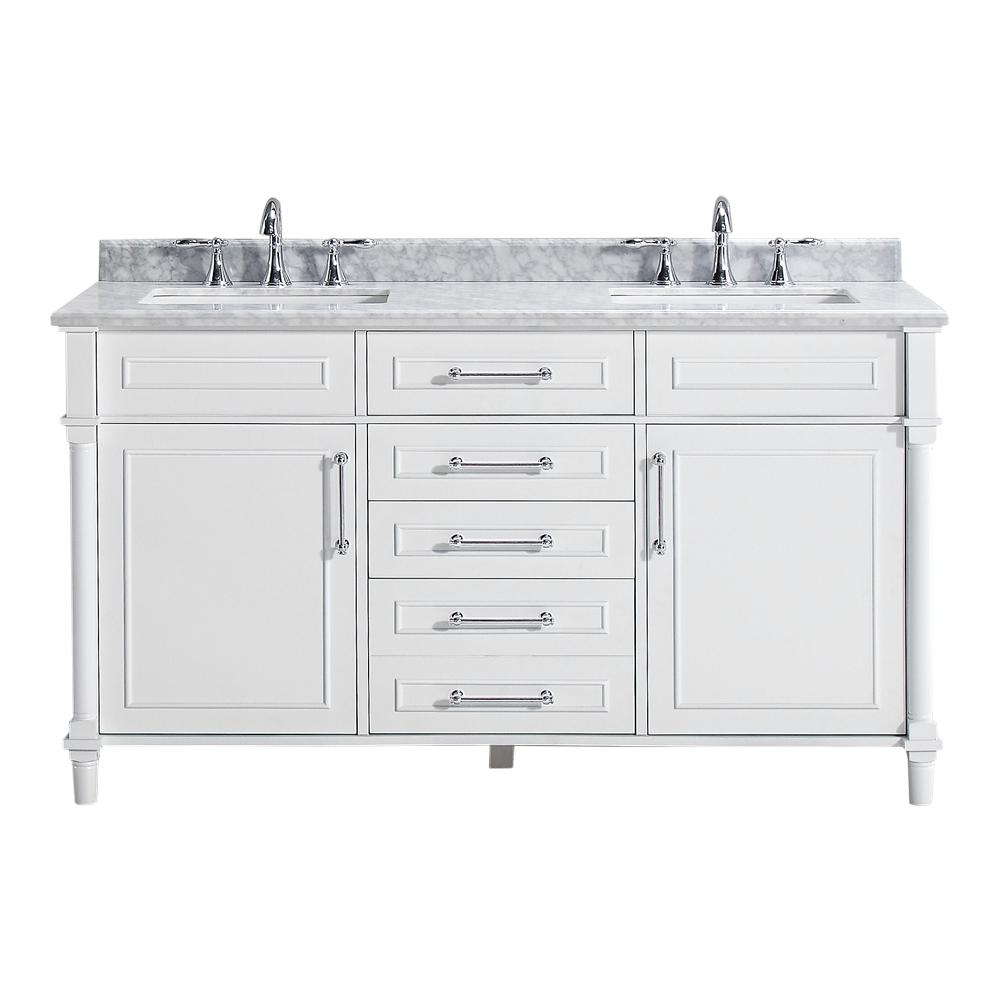 Home Decorators Collection Aberdeen 60 in. W Double Vanity in White with Carrara Marble Top with White Basins