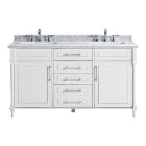 Home Decorators Collection Aberdeen 60 inch W Double Vanity in White with Marble Vanity Top in White with White Basin by Home Decorators Collection