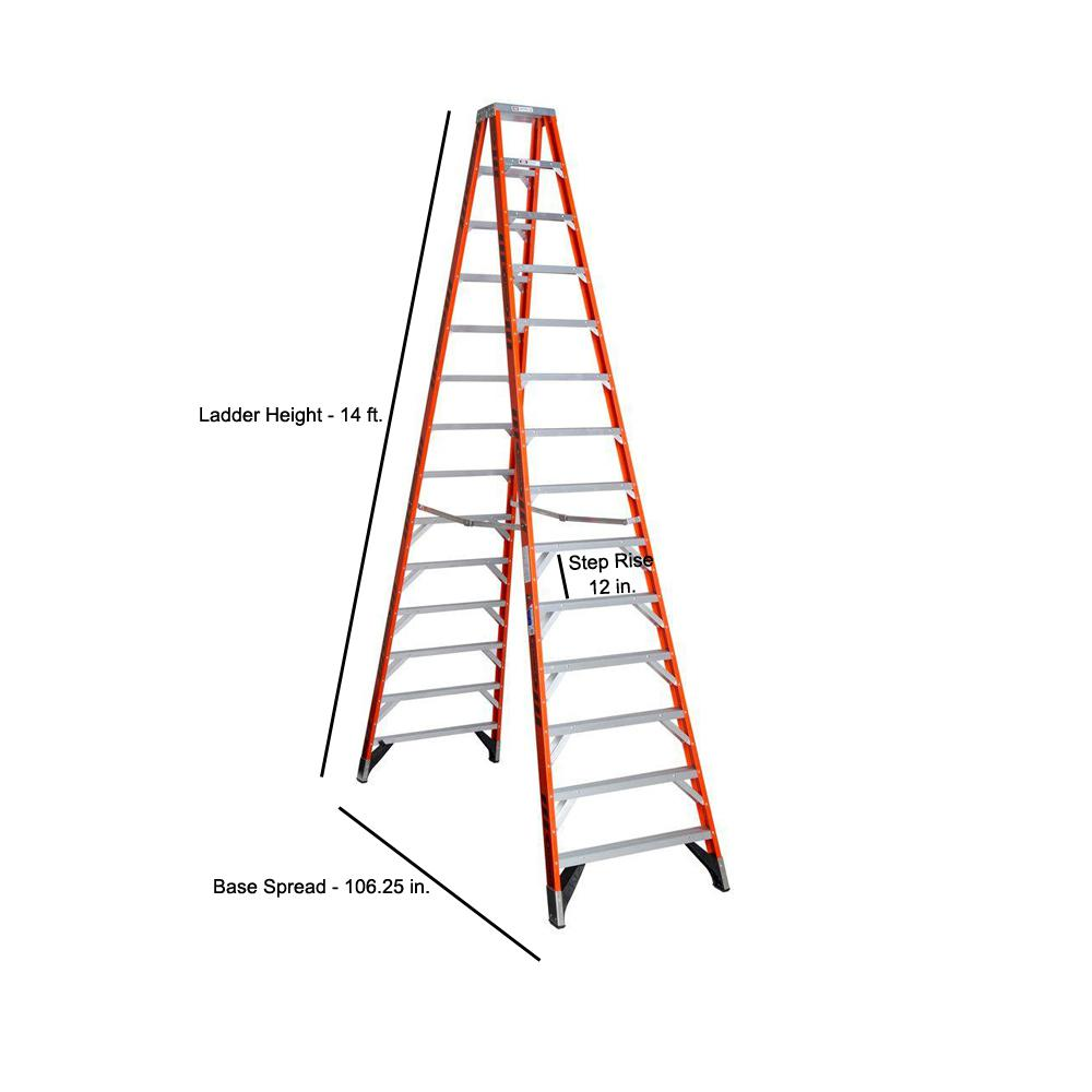Werner 14 Ft Fiberglass Twin Step Ladder With 300 Lb Load Capacity Type Ia T7414 The Home Depot
