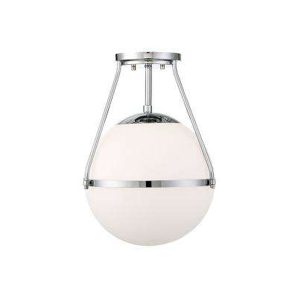 1-Light Chrome Semi-Flush Mount with White Opal Glass