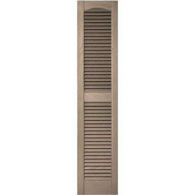12 in. x 55 in. Louvered Vinyl Exterior Shutters Pair in #023 Wicker