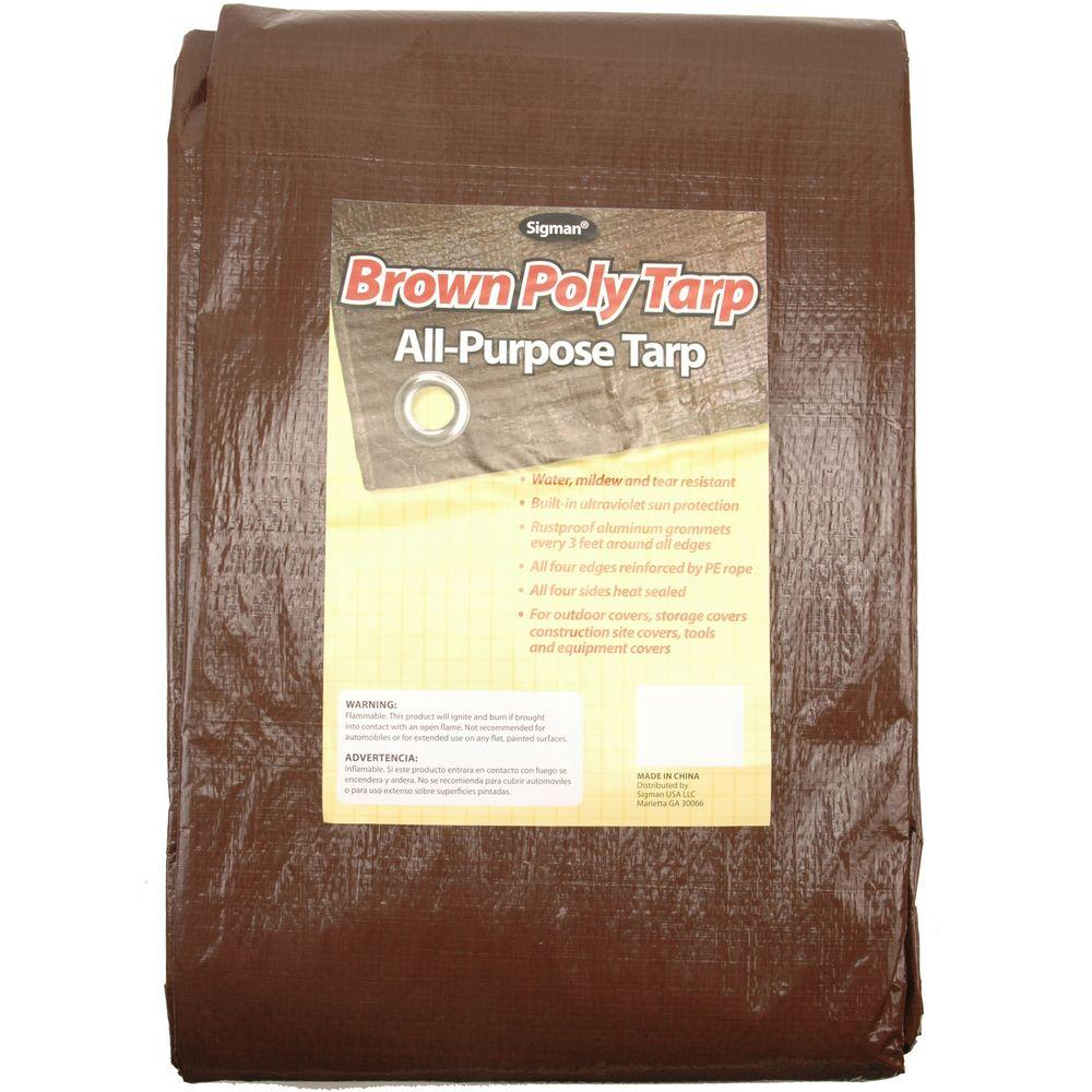 12 ft. x 24 ft. Brown Economy Tarp
