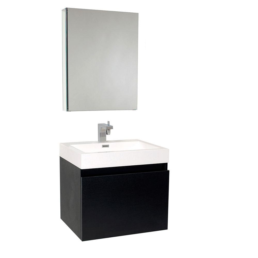 Fresca Nano 24 in. Vanity in Black with Acrylic Vanity Top in White with White Basin and Mirrored Medicine Cabinet