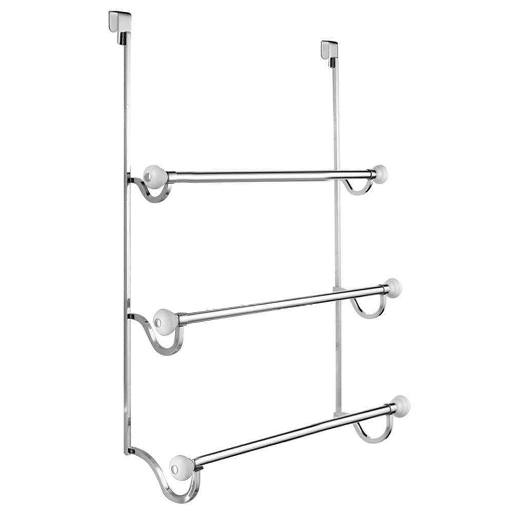 York Over Shower Door Towel Rack-3 in White and Chrome-73410 - The ...