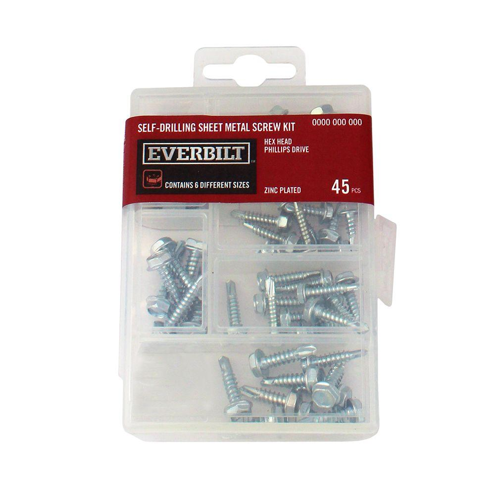 45-Piece Zinc-Plated Self-Drilling Sheet Metal Screw Kit