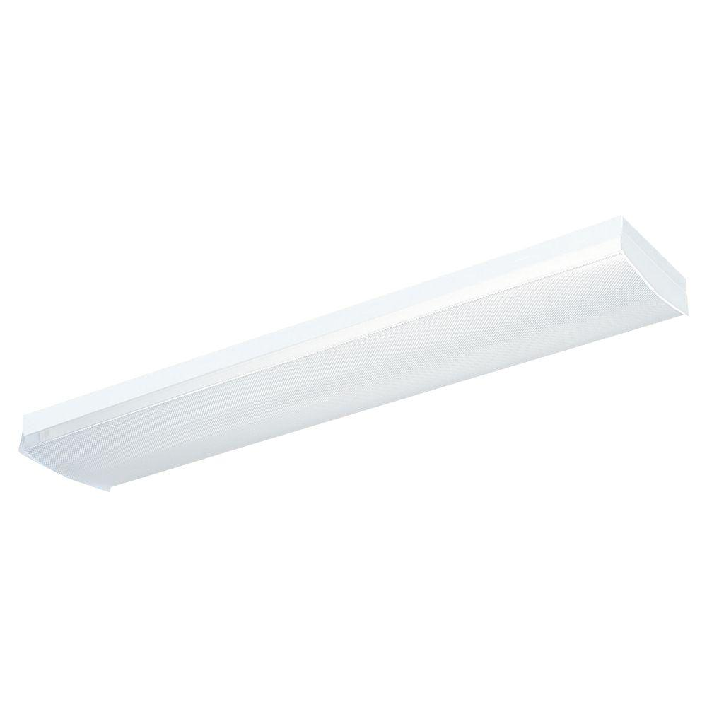 Sea Gull Lighting Drop Lens 2-Light White Fluorescent Ceiling Fixture