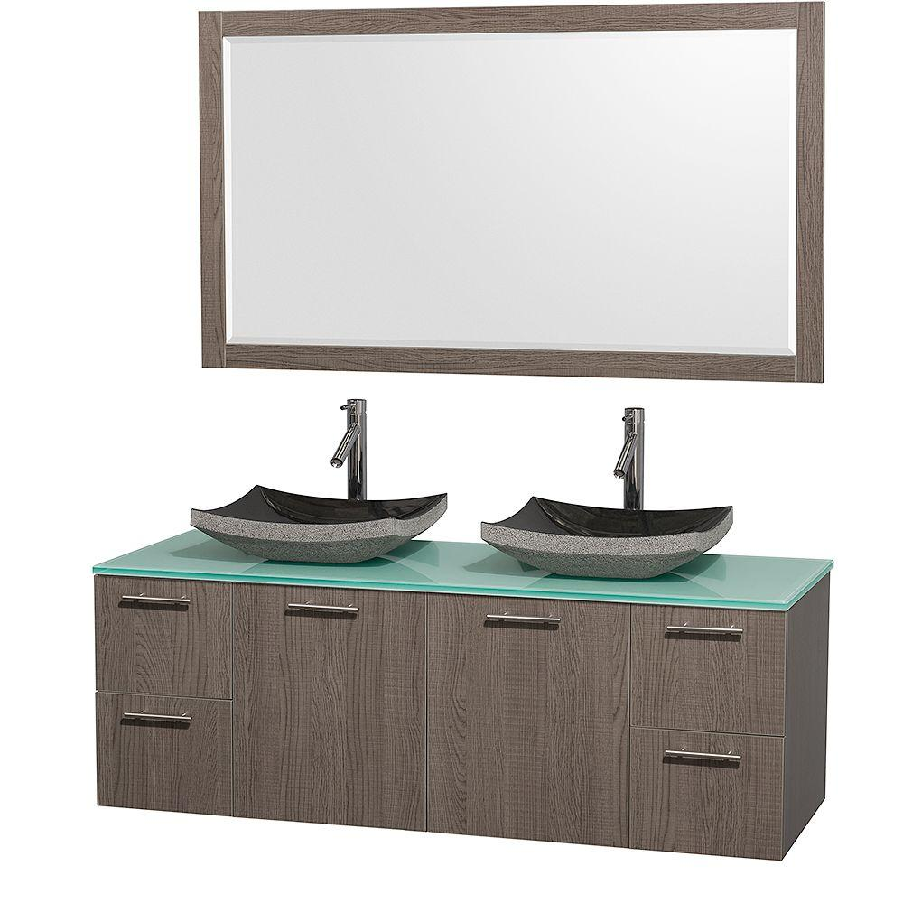 Wyndham Collection Amare 60 in. Double Vanity in Grey Oak with Glass Vanity Top in Aqua and Granite Sink