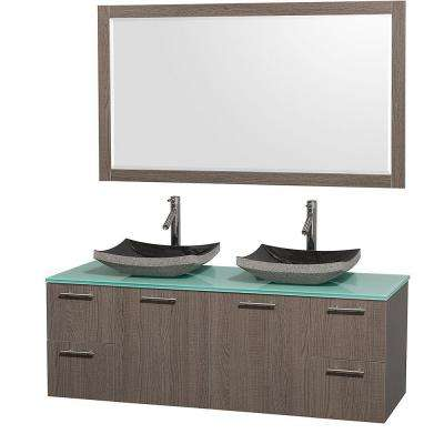 Amare 60 in. Double Vanity in Grey Oak with Glass Vanity Top in Aqua and Granite Sink