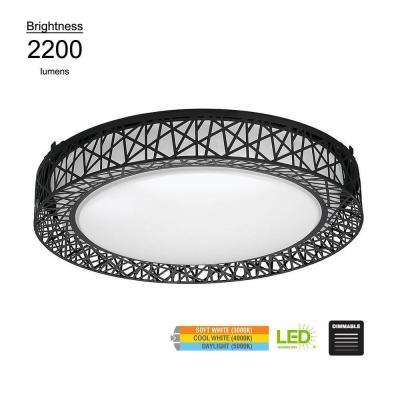 Birdsnest Style 20 in. Round Black 150 Watt Equivalent Integrated LED Flushmount with Color Temperature Changing Feature