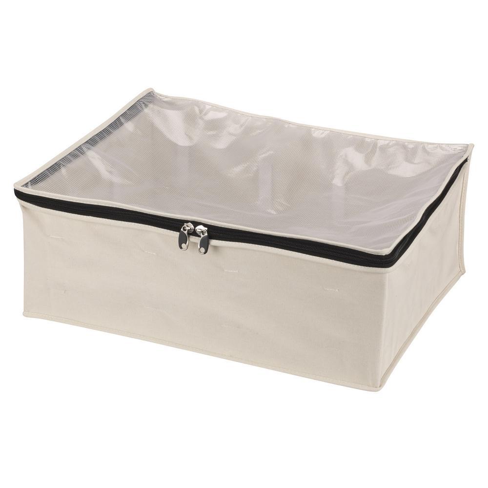 household essentials natural all cotton canvas blanket storage bag